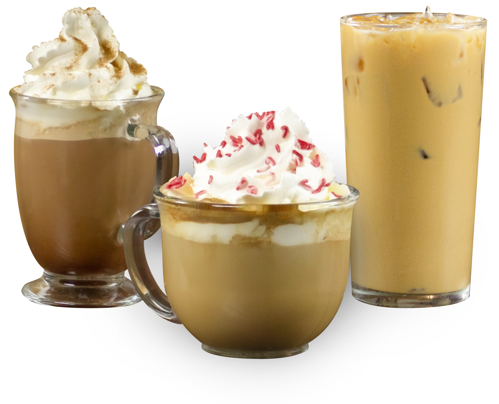 Photo of our 3 holiday drinks: Gingerbread dark mocha, candy cane white mocha, and eggnog cold brew.