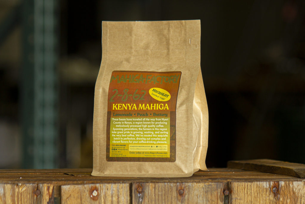 a bag of feature coffee, kenya mahiga, sitting in our roastery.