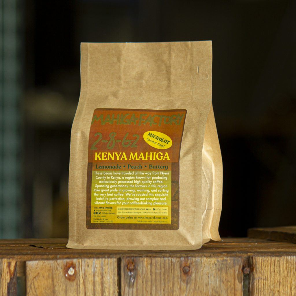 kenya mihaga, packaged in a brown craft bag sitting on an antique milk crate.